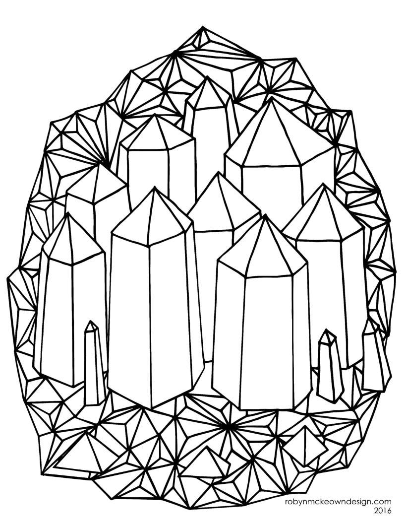 Crystals Coloring Page